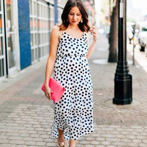 Old Navy Long Dress White Navy Polka Dots